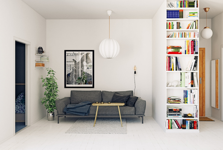 Modern Scandinavian style living room interior design. Standard-Bild - 118854887
