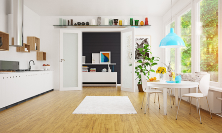 Modern Scandinavian kitchen room design. Standard-Bild - 118854893