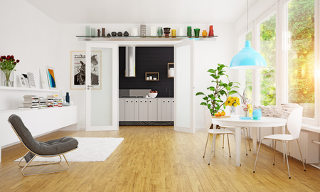 Modern Scandinavian dining room design. Standard-Bild - 118854889