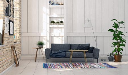 Modern scandinavian style living room interior design. Standard-Bild - 118854890