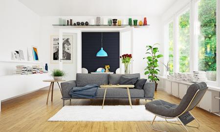 Modern scandinavian living room design. Standard-Bild - 118854891