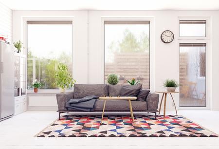 Modern scandinavian living room design. Standard-Bild - 118854897