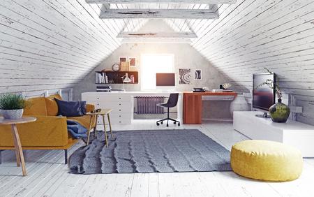 Modernes Dachgeschoss-Interieur.