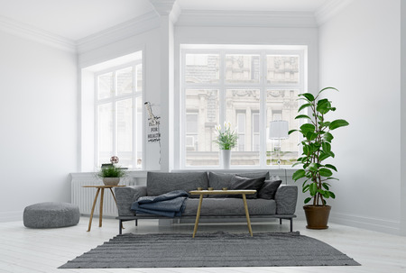 Modern scandinavian style living room interior design. Standard-Bild - 118854895