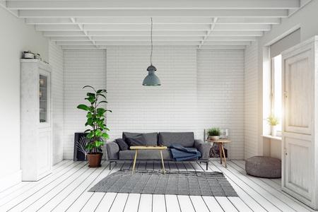 Modern scandinavian style living room interior design. Standard-Bild - 118854898