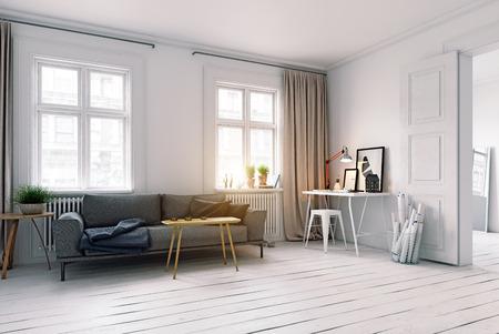 Modern scandinavian style living room interior design. Standard-Bild - 118854900