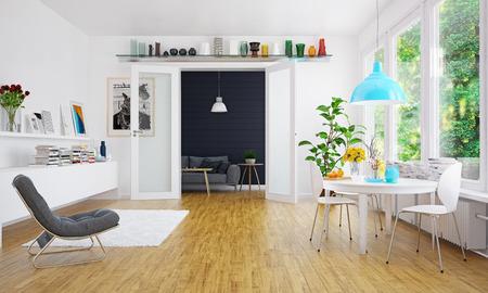 Modern scandinavian living room design. Standard-Bild - 118854901