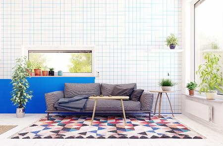 Modern scandinavian living room design. Standard-Bild - 118854899