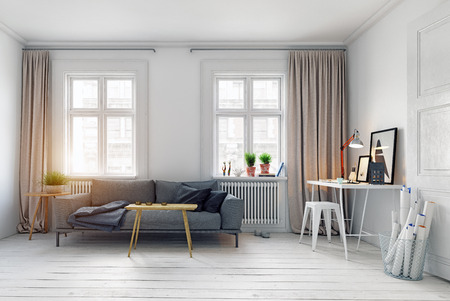 Modern Scandinavian style living room interior design.