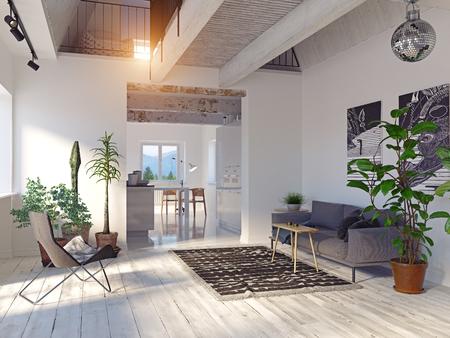 Interno moderno della casa. Divano e zona cucina.