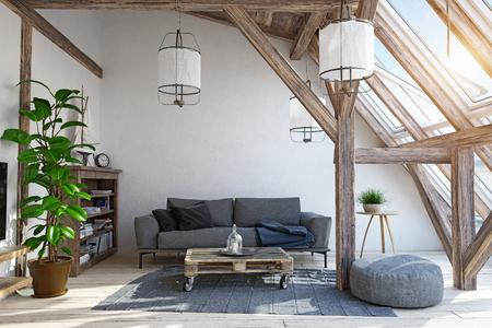 Modern attic living room interior design. Banco de Imagens