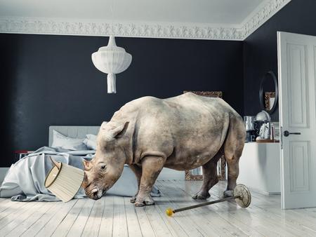 Wild rhino in the luxury bedroom interior.