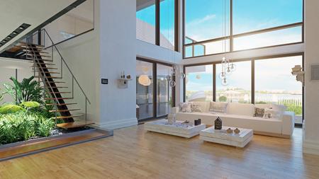 moderne Innenarchitektur des Hauses. 3D-Rendering-Projekt