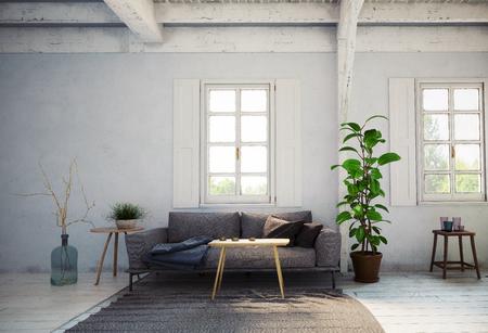 Interior de la sala de estar de estilo rústico. Concepto de diseño de renderizado 3D Foto de archivo