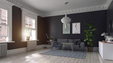 moderne wohnzimmergestaltung im skandinavischen stil. 3D-Illustrationskonzept