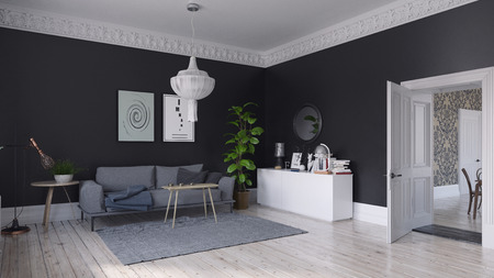 modern scandinavian style living room interior design. 3d illustration concept