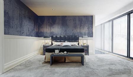 Modern bedroom interior. 3d rendering design interior Stock Photo - 121376556