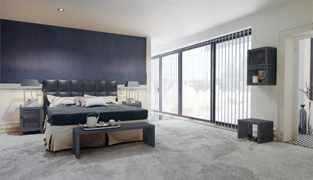 Modern bedroom interior. 3d rendering design interior