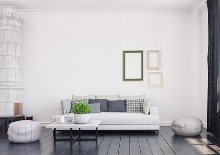 Scandinavian style living room design. 3d rendering concept