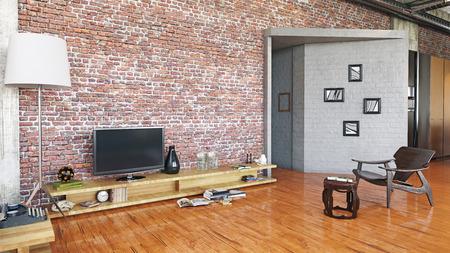 Modern loft design living room interior. Stock Photo