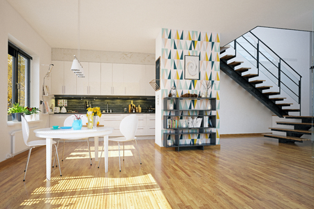 Scandinavian style kitchen design. 3d rendering concept