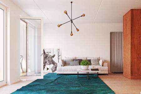 modern  living interior design. 3d rendering concept Standard-Bild - 123116965
