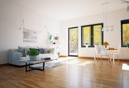 Scandinavian style living room design. 3d rendering concept Standard-Bild - 123116964