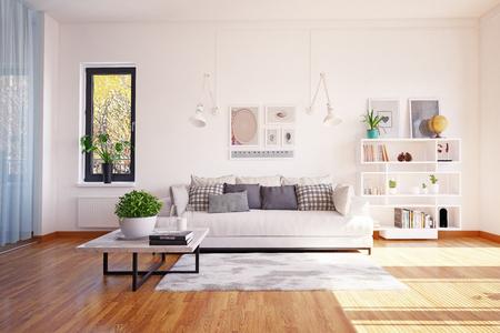 Design d'intérieur de vie moderne. notion de rendu 3D
