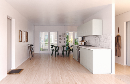 Modern scandinavian style kitchen interior. 3d rendering design Imagens