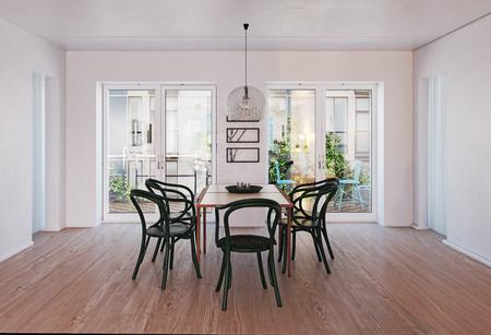 Modern dining room interior. 3d rendering design Standard-Bild - 123116980