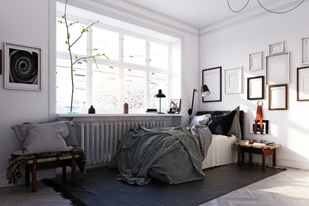 scandinavian style bedroom interior. 3d rendering concept design Stock Photo