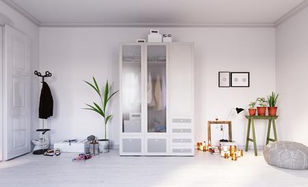 modern scandinavian style living interior design. 3d rendering concept