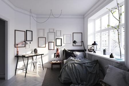 interno della camera da letto in stile scandinavo. Concetto di rendering 3D Archivio Fotografico