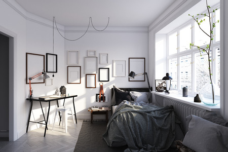 scandinavian style bedroom interior. 3d rendering concept design Stock Photo - 123838626