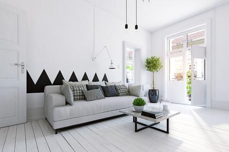 design d'interni per la vita moderna. concetto di rendering 3d Archivio Fotografico