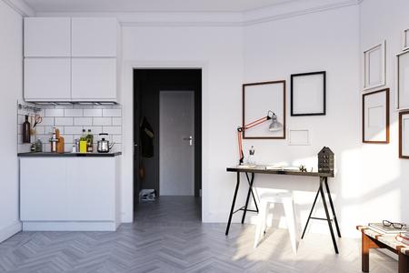 scandinavian style  interior. 3d rendering concept design