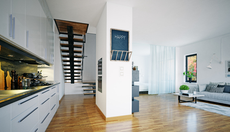 Modern interior scandinavian style living room design. 3d rendering concept Zdjęcie Seryjne