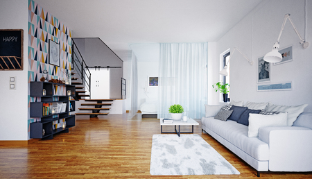 Modern interior scandinavian style living room design. 3d rendering concept Reklamní fotografie