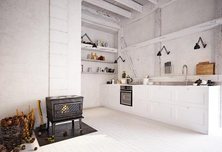 interno della cucina di campagna. Rendering del concetto di design 3D