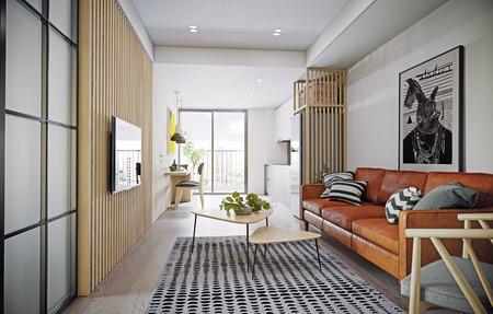 modern apartment design interior. 3d rendering concept Banco de Imagens