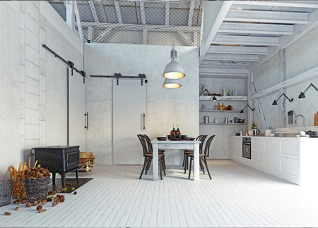 country kitchen interior. 3d design concept rendering Imagens