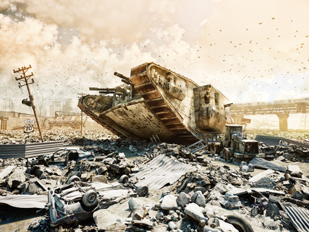 futuristic war scene with monster tank. 3d rendering digital art Imagens