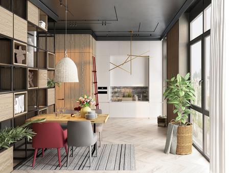 Modern kitchen interior design. 3d rendering concept Stock Photo - 123838788