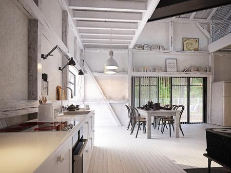 Landhausküche Interieur. 3D-Designkonzept-Rendering