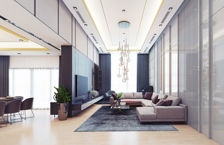 modern luxury interior design. 3d rendering concept