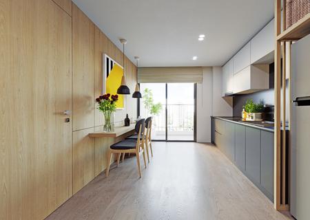 modern kitchen interior. 3d rendering design Banco de Imagens