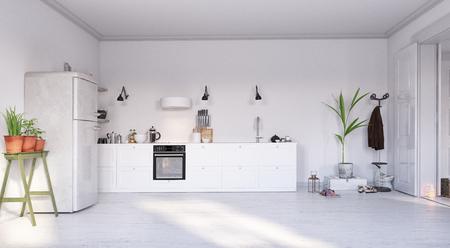 modern  kitchen interior design. 3d rendering concept