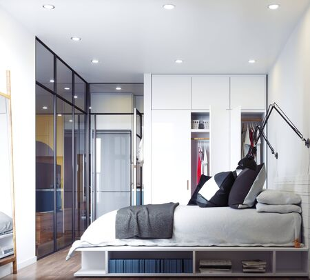 Modern bedroom interior. 写真素材