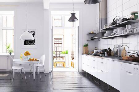 Modern scandinavian style kitchen interior.