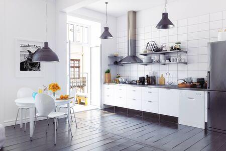 Modern scandinavian style kitchen interior